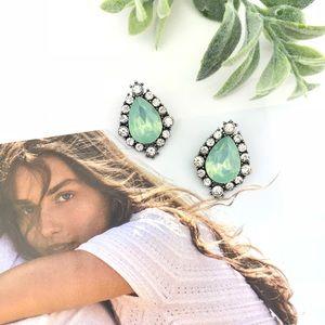 """""""Elizabeth"""" Seafoam Green Rock Stud Earrings"""